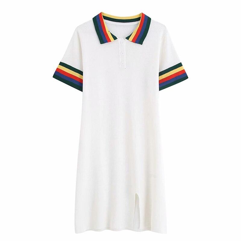 Summer Women POLO Shirt Dress Elegant Women Casual Short Sleeve Multi colored Collar Dress Vintage Straight Slim Sundress in Dresses from Women 39 s Clothing