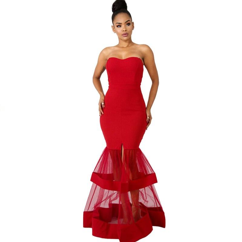 New Strapless Mermaid Wedding Evening Party Dresses Sheer Mesh Patchwork High Slit Bodycon Maxi Formal Dress for Women Vestidos