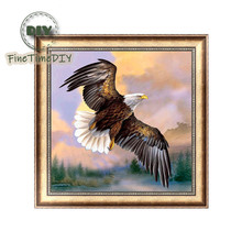 FineTime Flying Eagle 5D DIY Diamond Painting Partial Drill Diamond Embroidery Cross Stitch Animals Mosaic Painting finetime lucky fish 5d diy diamond painting partial drill diamond embroidery cross stitch animals mosaic painting