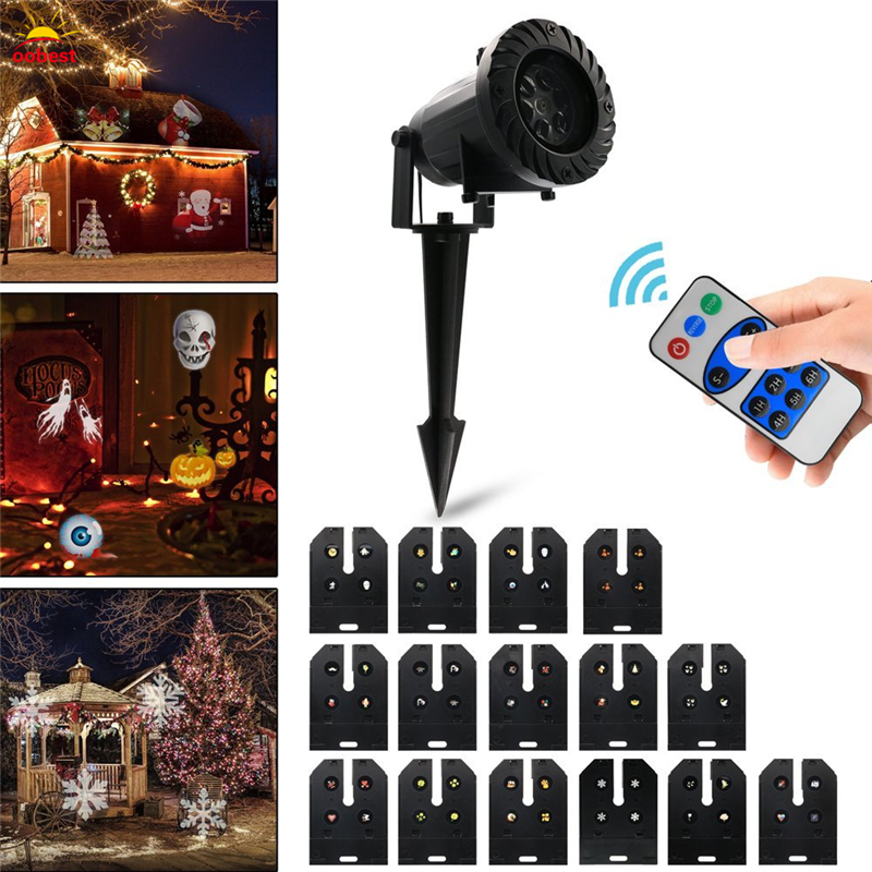 LED Projector Light with 15 Replaceable Patterns Waterproof 15 Patterns Christmas Halloween Holiday Party Decoration Lighting mipow btl300 creative led light bluetooth aromatherapy flameless candle voice control lamp holiday party decoration gift