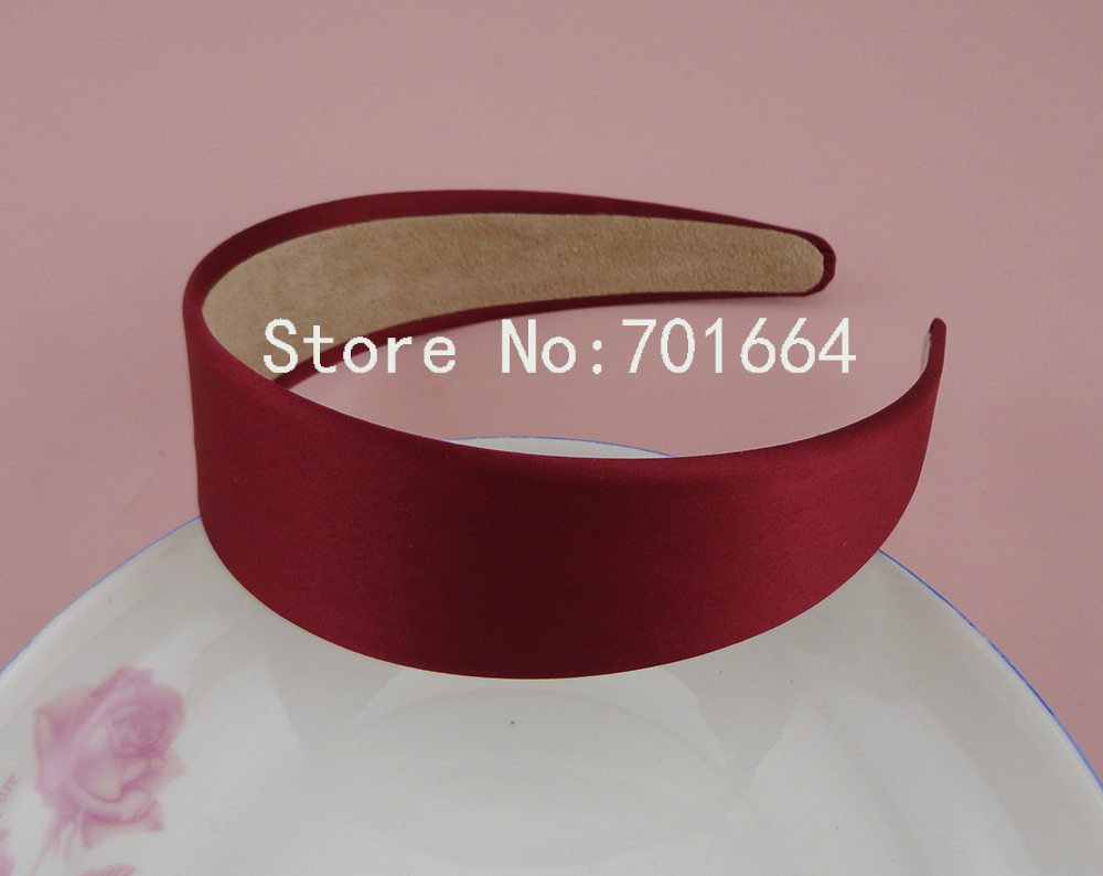 5PCS 3.8cm 1.5 Burgundy Satin Fabric Covered Plain Plastic Hair Headbands with velvet back,Wine Red Women Hairbands ...