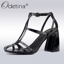 Odetina New Fashion Women Hoof High Heels Gladiator Sandals Buckle Ankle T-strap Sexy Summer Party Dress Shoes Plus Size 35-42 women sandals platform size fashion hoof high heels sexy party for ladies shoes ankle buckle strap rivets decoration sandals