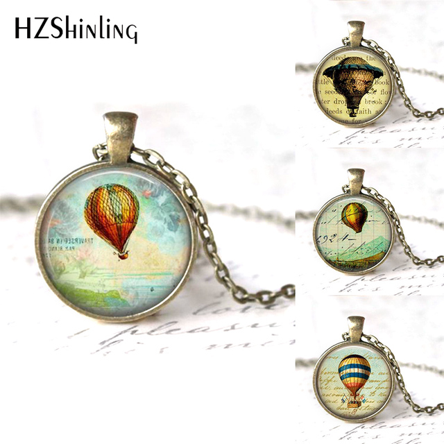 Hzshinling Whole S Gl Cabochon Necklace Hot Air Balloon Jewelry Art Pendant Silver Hz1