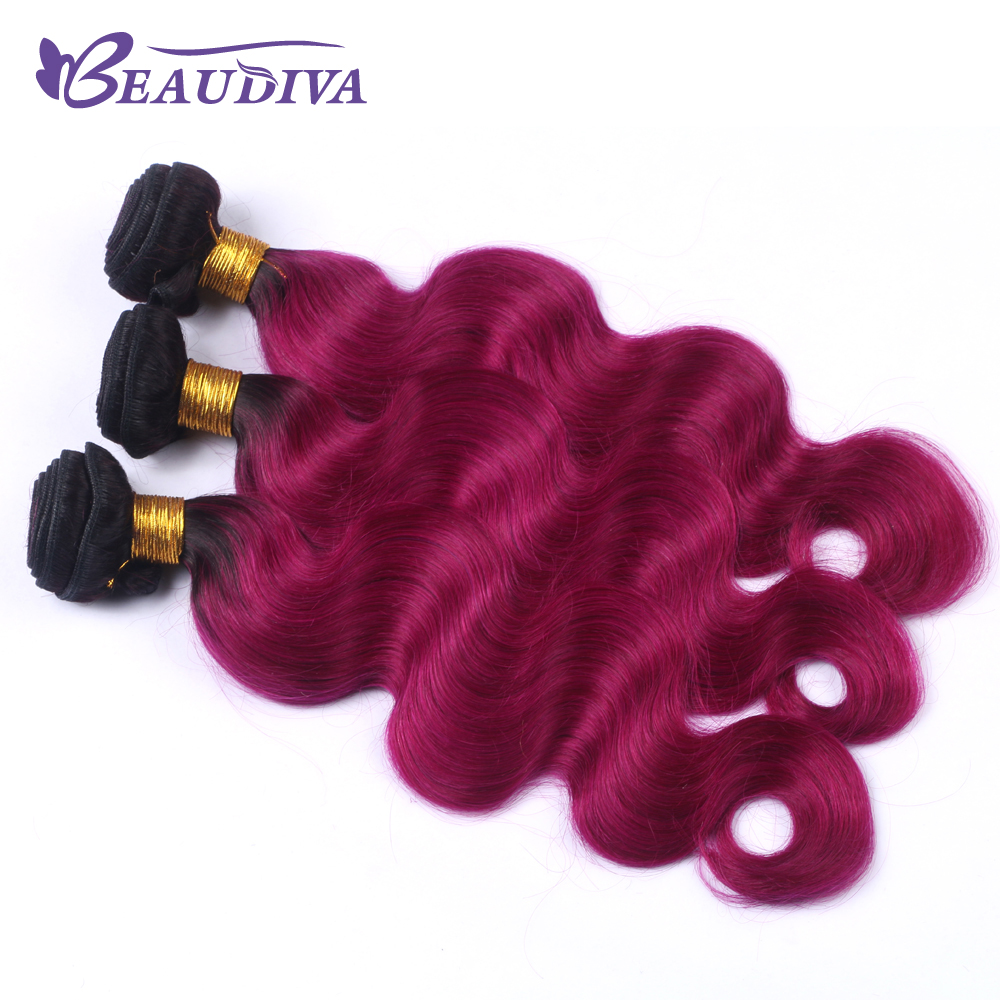 BEAUDIVA Pre-Colored T1B/ Dark Red Color Brazilia Remy Human Hair Extensions 3 Bundles Ombre Human Hair Extensions 100g