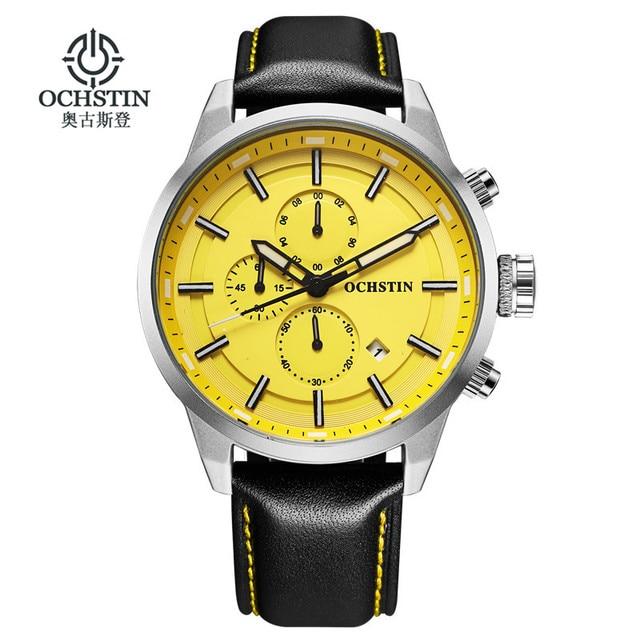 OCHSTIN กีฬานาฬิกาผู้ชายแฟชั่น Casual Chronograph Chronograph นาฬิกาผู้ชายกีฬาชายนาฬิกาควอตซ์ชายนาฬิกานาฬิกาสีเหลือง face