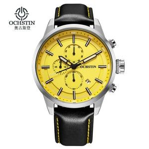 Image 1 - OCHSTIN ספורט שעונים לגברים אופנה מקרית הכרונוגרף שעונים גברים עור ספורט זכר קוורץ שעון זכר שעון שעה צהוב פנים