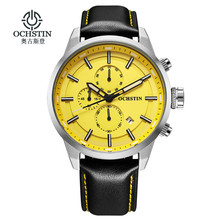 Ochstin Sport Horloges Voor Mannen Fashion Casual Chronograaf Horloges Mannen Lederen Sport Mannelijke Quartz Horloge Mannelijke Klok Uur Geel gezicht