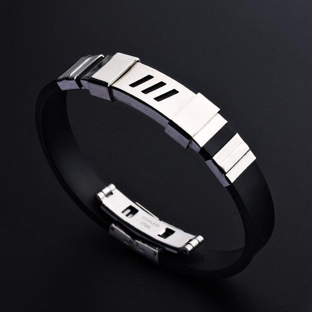 2018 Mens Black Silicone Stainless Steel Rubber Bracelets For Men