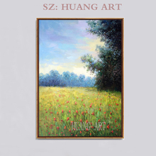 Famous painter hand-painted oat field safflower fields Vienna wood frame oil  painting decorative home sitting room sofa hall g