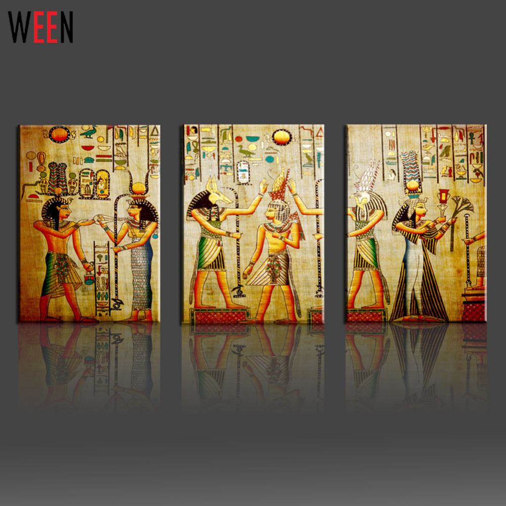 Lovely Canvas Painting Triple Abstract Picture Egyptian Mural Room Modern  Decorative Painting Large Art Wall Art Print In Painting U0026 Calligraphy From  Home U0026 Garden ...