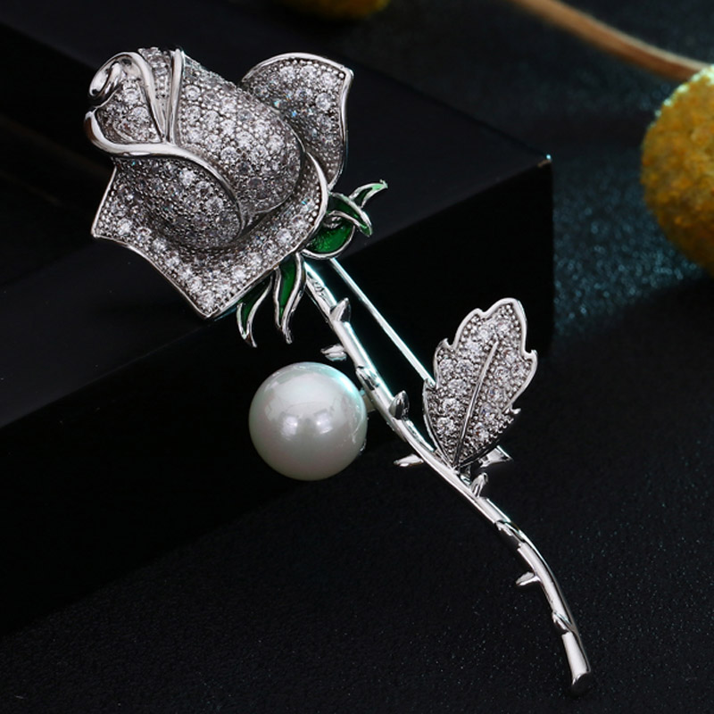 AAA Cubic Zircon rose Flower Brooches For Wedding Bridal Accessories Women Copper Hijab Pins Accessory Flower