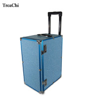 Large Capacity Makeup Suitcase Jewelry Storage Box 10Drawer Jewelry Watch Bangle Storage Travel Trolley Case W/Universal Wheels