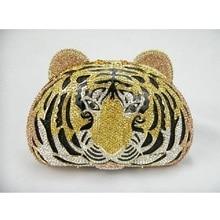 ทองคริสตัลเสือหัวสัตว์งานแต่งงานเจ้าสาวp Arty Nightกลวงโลหะเย็นกระเป๋าคลัทช์กระเป๋ากรณีกล่องกระเป๋าถือ