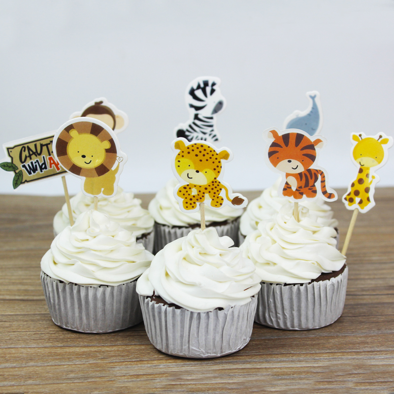 Aliexpresscom Buy 24 pcslot Wild Animal Party cupcake toppers