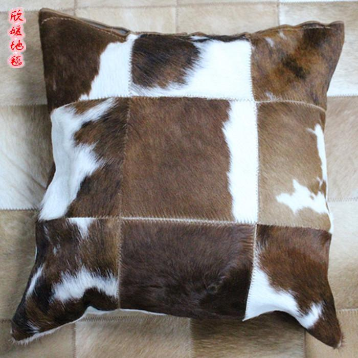 Luxury natural cowskin warm fur  pillow cover    , real cow leather throw cover  for furniture upholstery, free shipping