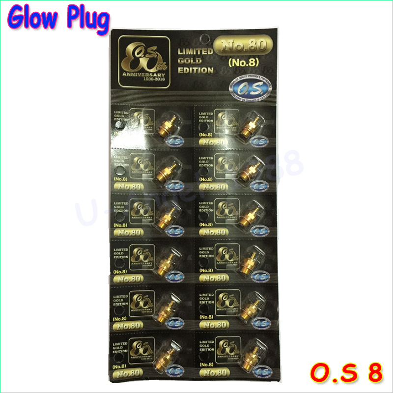 Newst Gold-plated version 100% Original OS NO.8 O.S. OS8 medium plug N Glow Plugs 12 peieces /lot Free Shipping For OS Engine