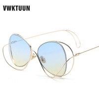 VWKTUUN Curve Structure Sunglasses Women Gold Metal Sunglass Oval Shades Big Oversized Sun Glasses For Men