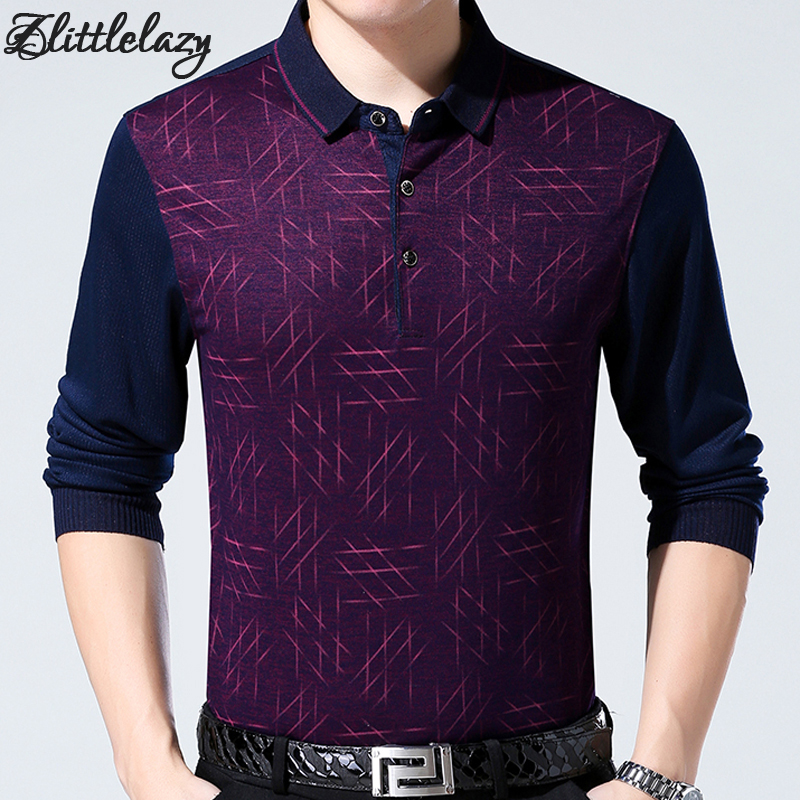 2018 brand fashion slim fitness winter thick long sleeve   polo   shirt men pol argyle casual cotton mens   polos   shirts clothing 734