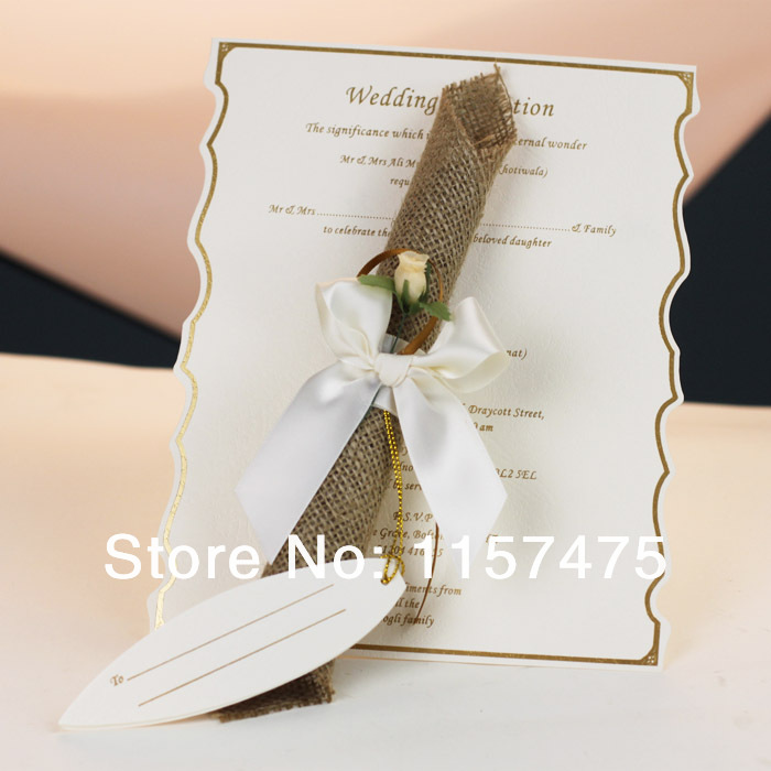 60 Pcs Lot Rose Red Color Luxury Design Adorable Romantic Paper Wedding Invitations Scroll Styles