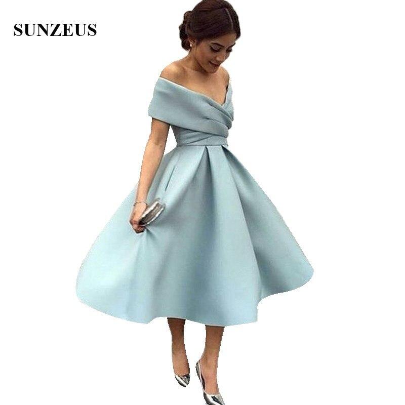 Vestidos Para Boda A-line V-neck Off Shoulder Bridesmaid Dresses Tea Length Elegant Arabic Women Party Dress For Wedding BDS100