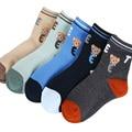 2017 la primavera y el otoño caliente de la venta 5 par/pack de dibujos animados patrón del oso niños del algodón los calcetines 1-12 años bebé niños calcetines niñas calcetines