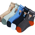 2017 spring and autumn hot sale 5 pairs / pack cartoon bear pattern cotton children socks 1-12 year baby boys socks girls socks