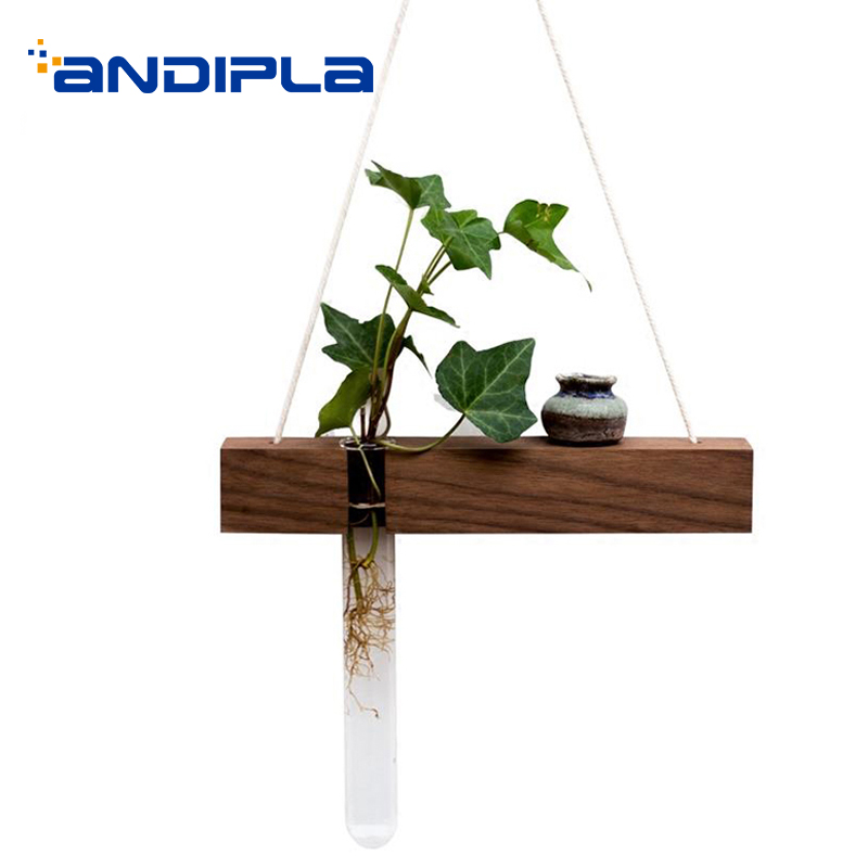 98a6c3ae0ed Black Walnut Wood Glass Test Tube Wall Vase Home Decor Creative Ornament  Pendant Hydroponic Plant Flower Pot Handmade Jardiniere-in Vases from Home    Garden ...