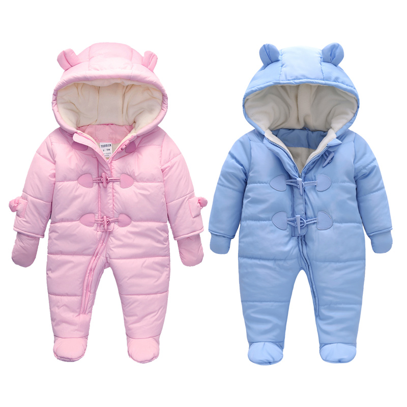 Infant baby rompers Winter clothes Newborn Baby Boy Girl warm Romper Jumpsuit Hooded Kid Outerwear  az303 2016 newborn baby rompers hooded winter baby clothing bebethick cotton baby girl clothes baby boys outerwear jumpsuit infant