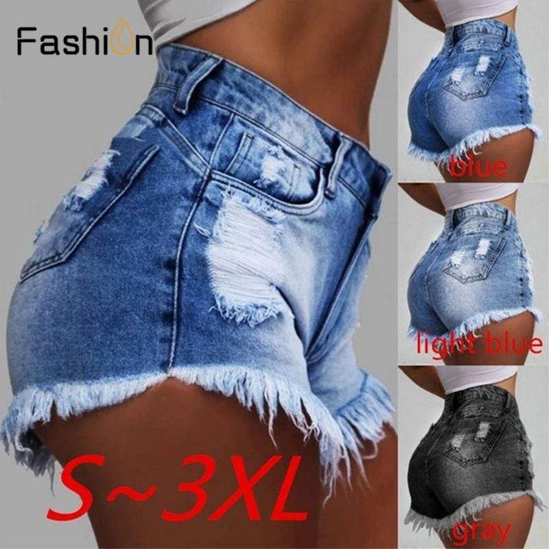 2019 Summer Female Blue High Waist Denim   Shorts   Women Worn Loose Burr Hole Jeans   Shorts   Boyfriend Style Vintage Booty   Shorts