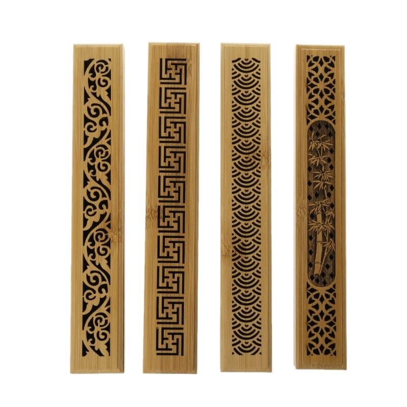 Rectangle Art Bamboo Incense Burner Hand Incense Holder Carving Hollow Stick Box Lying Censer Home Decor