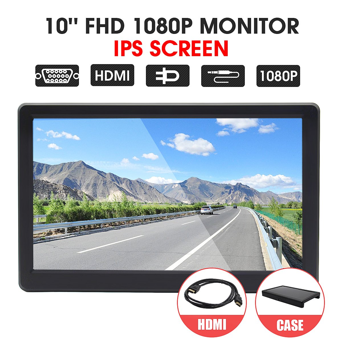 10'' FHD 1080P LED Display Monitor Module IPS HDMI/VGA For Raspberry Pi 3 For PS3 For PS4
