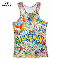 2016 New Anime Cartoon Pokemon Go Short sleeve O-neck Men Vest Cosplay 3D Pokemon Go Summer Clothing Boy Tank Top,YK UNCLE