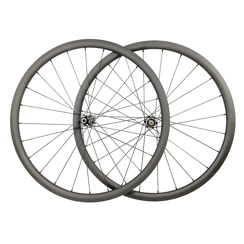 Light Straight pull 30mm road disc clincher carbon wheels 700C 24mm wide 24h 28h cyclocross bike