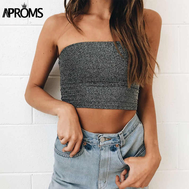 a545bc5eef8 Aproms Silvery Glitter Tube Top 90s Cool Strapless Camis Women Crop Top  Fashion 2019 Streetwear Basic