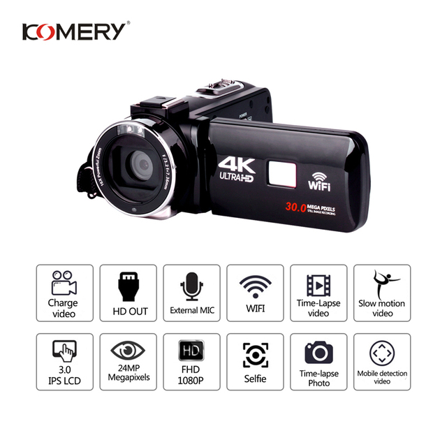 KOMERY 4K Camcorder Video Camera Wifi Night Vision 3.0 Inch LCD Touch Screen Time-lapse Photography Camera Fotografica With Micr 1