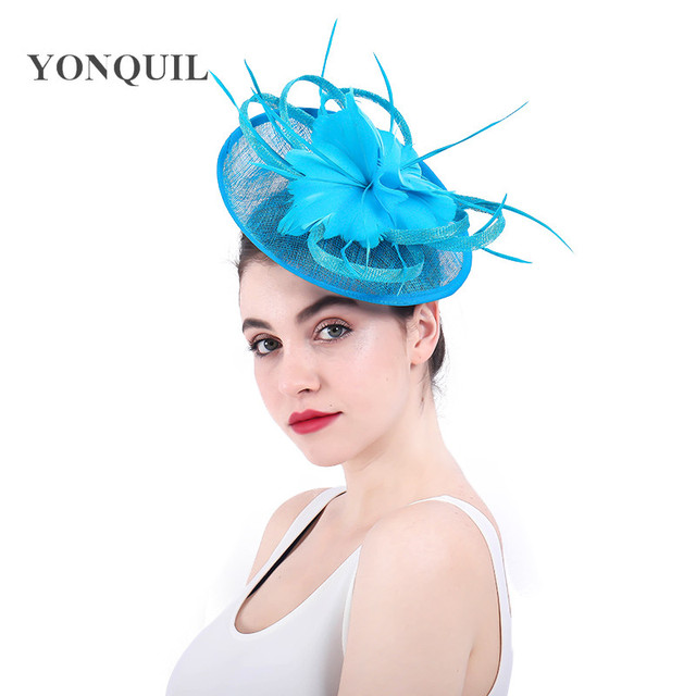 bfd4c35f5ba00 Fancy turquoise blue Feather Fascinator HatsWomen Sinamay Hat for Kentucky  Derby Wedding Party Cocktail Occasion Headband