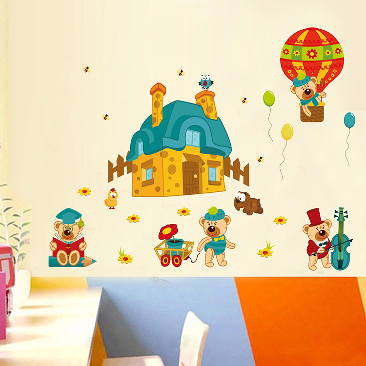 60*90cm free shipping cartoonkindergarten cute bear quote wallstickers removable Vinyl home decoration for kids room