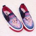 Meninas princesa shoes for kids moda elsa anna crianças shoes 2017 Nova Rainha da Neve do Gelo Criança Lona Casuais Denim Único Sneakers