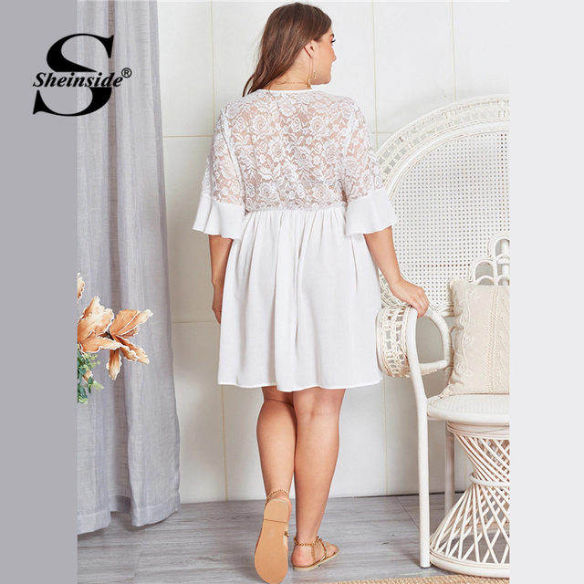 Sheinside Plus Size Contrast Lace Hollowed Out V Neck Dress Women 2019 Summer Flounce Sleeve Dresses Ladies A Line Dress 1