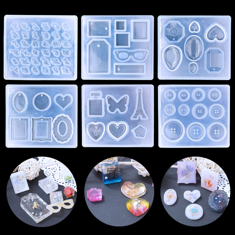 QIAOQIAODIY Button/Alphabet Jewelry Silicone Mold DIY Decorating Clay Tool Translucent Accessories Epoxy Resin Molds Cake Biscui
