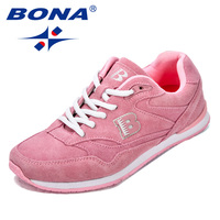 BONA New Classics Style Women Running Shoes Suede Leather Feminimo Athletic Shoes Outdoor Jogging Shoes Lace Up Lady Sneakers