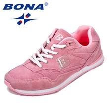 Bona novo tênis de corrida feminino, novo tênis clássico de camurça, couro, atlético, para atividades ao ar livre, tênis feminino