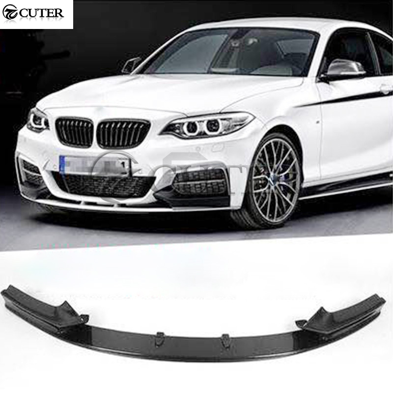 F22 2 series M235 MP style Carbon Fiber Car front bumper lip Spoiler for BMW F22 M235i car body kit 14-18 image