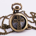 Artique Classic Vintage Retro Cross Christian Bronze Hollow Pocket Watch Pendant Clock Long Sweater Chain Necklace Clock TD019