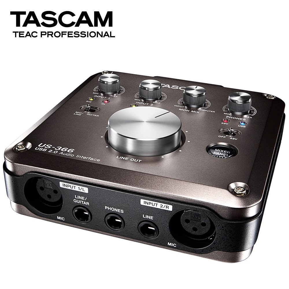 Tascam US 366 USB audio interface DSP mixer recording computer sound card with microphone amplifier Tascam