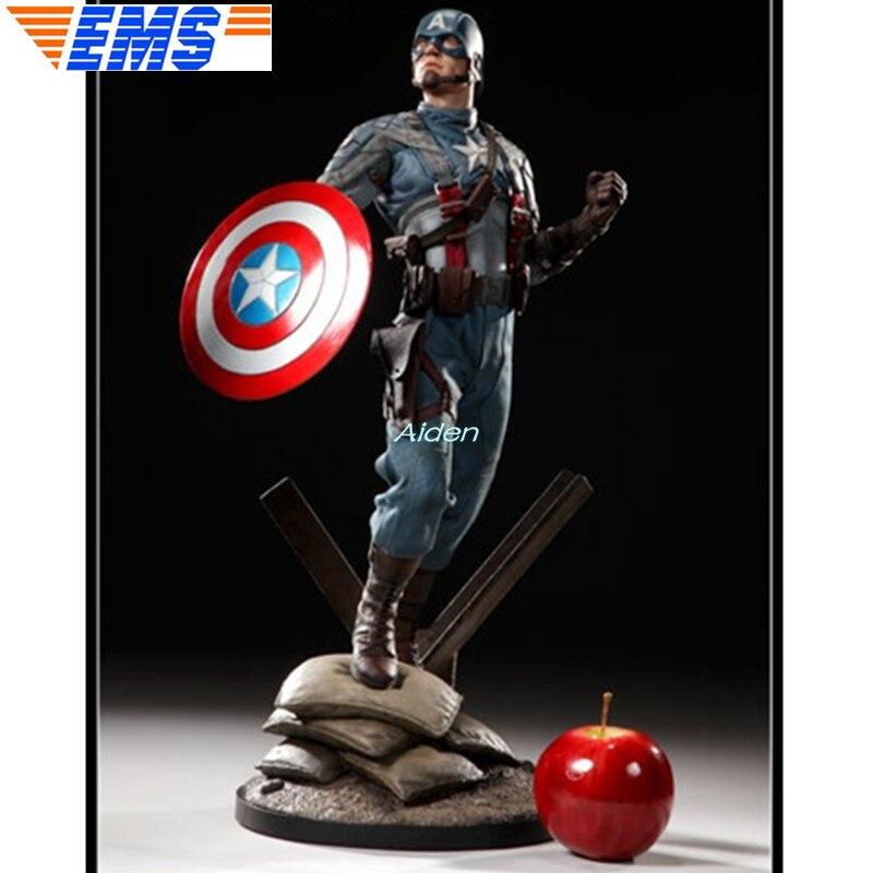 1//6 The Avengers Captain America Battle Damage Shield Figure Metal Statue 12in