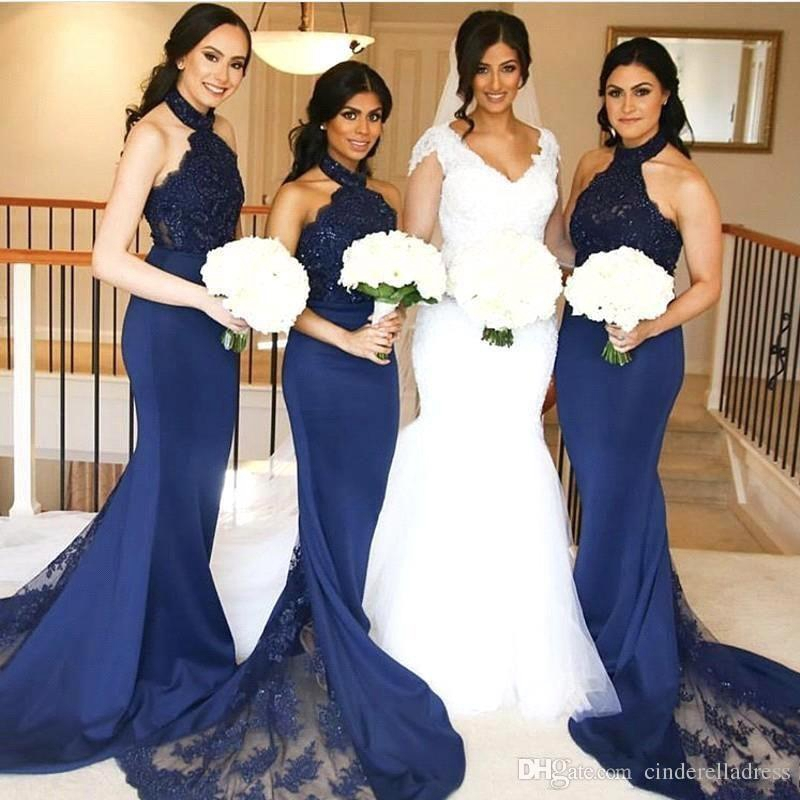 Robe Demoiselle D'honneur Mermaid Navy Blue Bridemaid Dresses Backless Halter Lace Applique Maid Of Honor Party Gowns