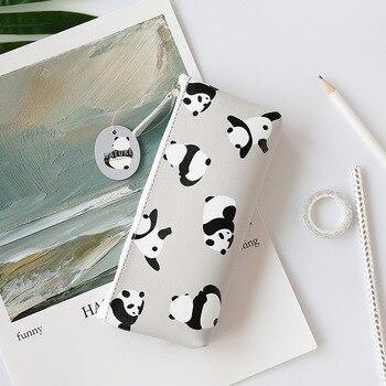 JUKUAI Flamingo Lápiz Caso PU Cuero Panda Lápiz Para El Estudiante Papelería Almacenamiento Organizador Bolsa Escuela Oficina Fuente 8232