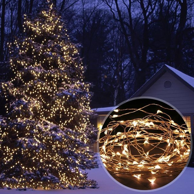 solar powered 33ft 10m 100 leds starry string lights copper wire lighting for gardens