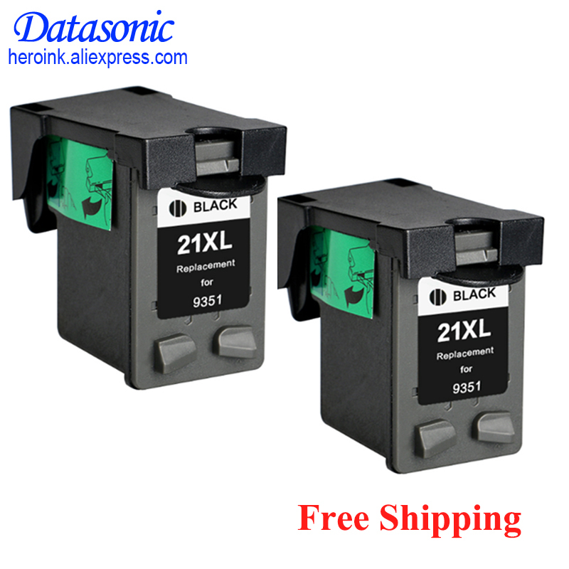 Dat 2pcs 21 Black Ink Cartridge For HP21 21xl Deskjet F380 F2180 F2280 F4180 F4100 F2100 F2200 F300 D1500 D2300 Printer